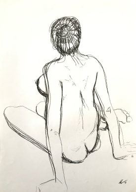Seated Nude in Charcoal by Leah Gay